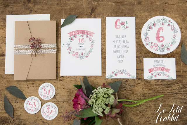 Wedding Suite Boho Chic Watercolor Flower